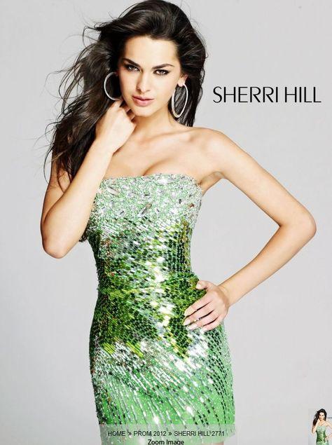 Sequin short dresses Sherri Hill 2012   Green sequin short dresses 2012