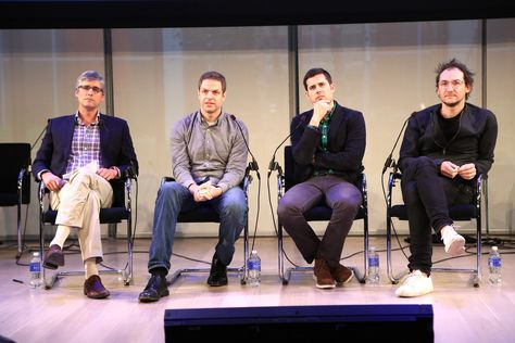 #AWXI Advertising Week: Mo Rocca, Ben Relles, Chris Bruss and Benjamin Palmer speak onstage at the Leveraging the Laugh: Sparking Action through Humor