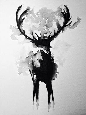 Cerf Aquarelle Noir Et Blanc Tattoo In 2019 White Art Deer