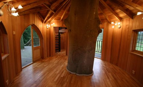 The interior of this treehouse is pretty luxurious