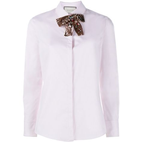 e5f1805fc34b Gucci Sequin Neck Tie Shirt (£600) ❤ liked on Polyvore featuring tops,  blouses, gucci, shirts, long sleeve collared shirt, tie neck tie, retro  shirts, ...
