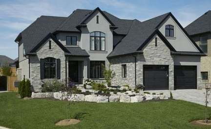 Beautiful Grey Stone House Shame I Really Don T Like Black Windows Inside The House Exterior Brick House Exterior Exterior Door Trim