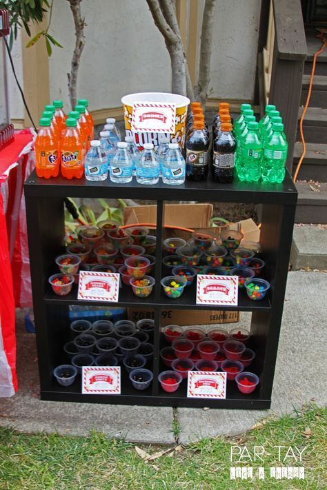 Movie Theater Concession Stand Idea For A Drive In Birthday Party Kidsbirthdayparty Kidsbi Movie Night Birthday Party Movie Birthday Party Movie Themed Party