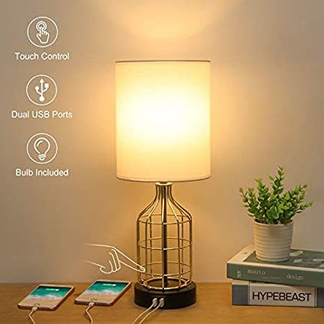 Touch Control Table Lamp With 2 Usb Charging Ports Boncoo 3 Way Dimmable Side Table Lamp With Gold Touch Table Lamps Side Table Lamps Modern Nightstand Lamps