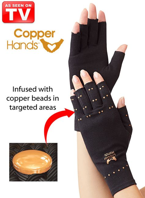 Copper Hands™ at http://www.AmeriMark.com. These technologically advanced compression gloves are made with exclusive copper-infused beads secured at key focal points. #copperhands #asseenontv #asotv #amerimark #copperasotv