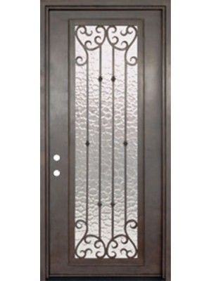 Valencia 42 Full Lite Wrought Iron Door 8 0 Tall Shown With French Grey Satin Finish And Ocean Steel Entry Doors Double Doors Exterior Wrought Iron Doors