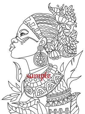 African Lady Single Colour Pdf Cross Stitch Chart Coloring Book