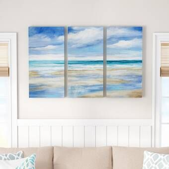 Highland Dunes Washy Coast I 3 Piece Wrapped Canvas Acrylic Painting Set On Canvas Reviews Wayfair Coastal Wall Art Gallery Wrap Canvas Ocean Wall Art