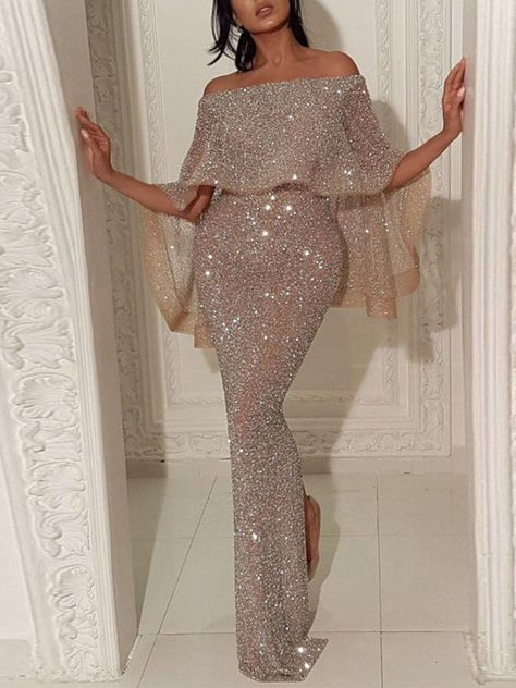 #GraceQ #StyleWe - #A-THENA Shimmer Sheath Elegant Maxi Dress - GraceQ.com