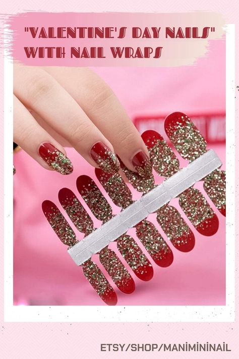 Glitter Red Nail Wraps, Minimalist nail stickers Makeup & Nails | Christmas Nails | Festive Nails | Nail Art For The Holidays | Fall, Short, Designs, Simple, Pretty, Square, Cute, Christmas, Cute short, Almond, Bling, Winter, Shapes, Glitter, Gold… christmas nail designs, nail ideas, acrylic nails designs #ManicureMonday #naildesignsjournal #nails #nailart #naildesigns #shortnails #shortacrylicnails #acrylicnails #nailwraps #nailsticker #Valentinesday