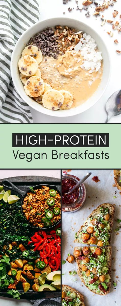 14 Protein-Packed Vegan BreakfastsYou can find Vegetarian breakfast and more on our Protein-Packed Vegan Breakfasts Healthy Breakfast Desayunos, Healthy Breakfast Recipes, Easy Healthy Recipes, Protein Packed Breakfast, Vegan Breakfast Casserole, Protein Packed Foods, Healthy Breakfast Meals, Vegan Recipes Healthy Clean Eating, Protein Dinners