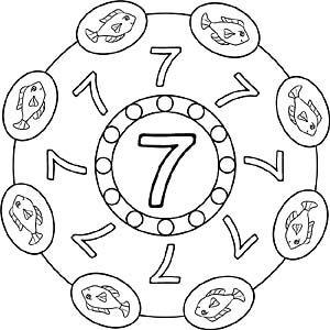 Zahlen Mandala 7 Zahl Sieben Mandala Ausmalen Zahlenland