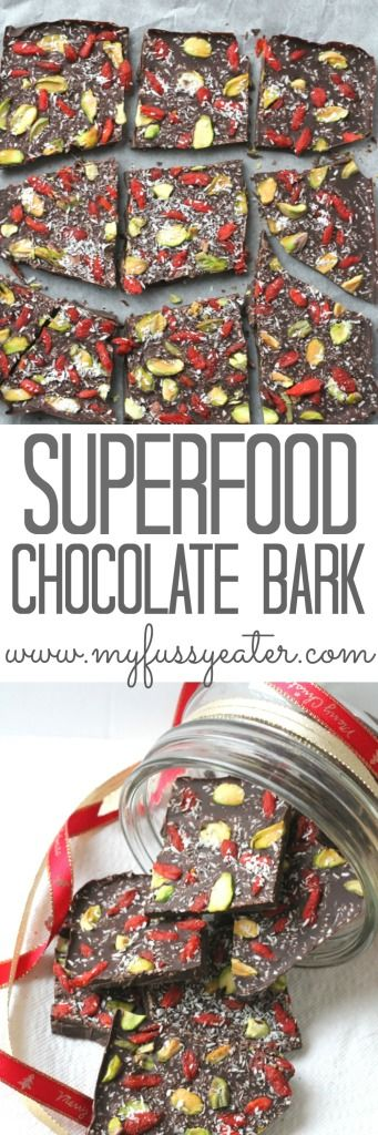 An indulgent yet healthy Christmas treat of dark chocolate topped with goji berries, pistachios and coconut