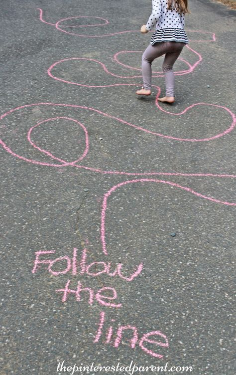 Sidewalk Chalk Games & Activities for kids. Fun outdoor play spring, summer and fall