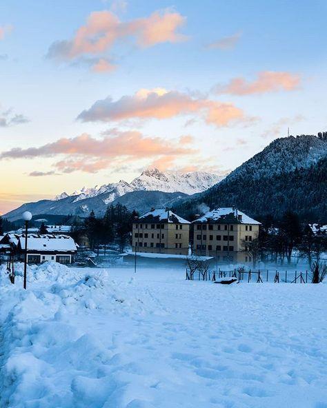 gorgeous magnificent snowy landscape at...