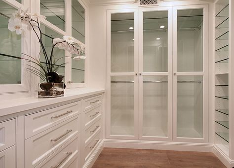 I am loving the glass doors so my clothes and shoes don't get dusty.  Must have a large island with drawers as well for accessories!