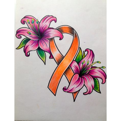 Traditional tattoo Leukemia Ribbon with Lillies.