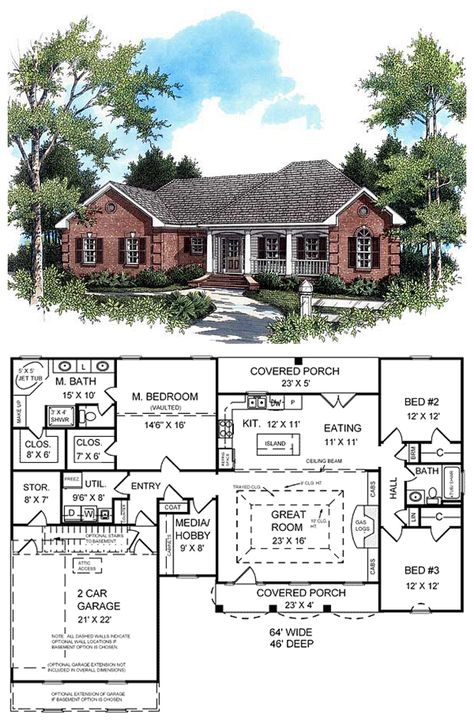 #HomePlan 59010   This home features a beautiful classic traditional style with an #European touch. The expansive master suite includes vaulted ceilings, large his and her walk-in closets, an oversized jet tub, separate shower, compartmentalized toilet and dual vanities. The open floorplan of this home includes a split-bedroom layout and features the much-requested gas logs or conventional fireplace. Large kitchen features popular raised bar for meals and conversations with family.
