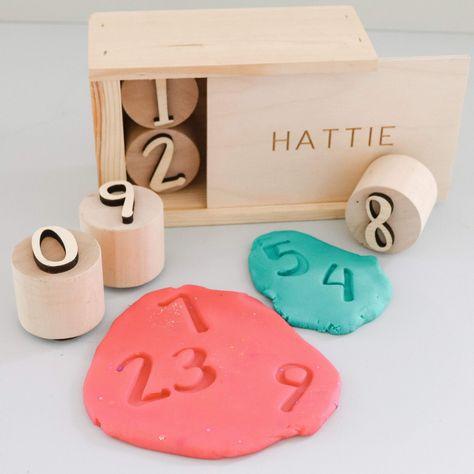 Number playdough stamps, sensory kit tools - Set of stamps