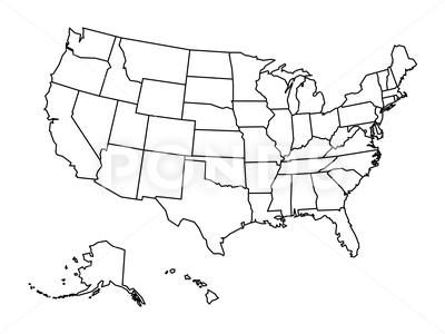 Blank Outline Map Of United States Of America Simplified Vector