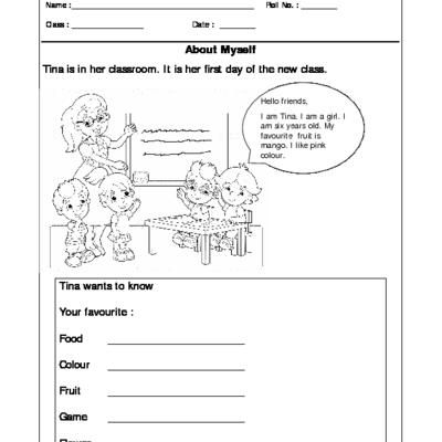 Worksheet Of Class I Evs About Myself Get To Know Me Get To Know Me General Awareness Worksheets For Class 1 Get To Know Me 1st Grade Worksheets