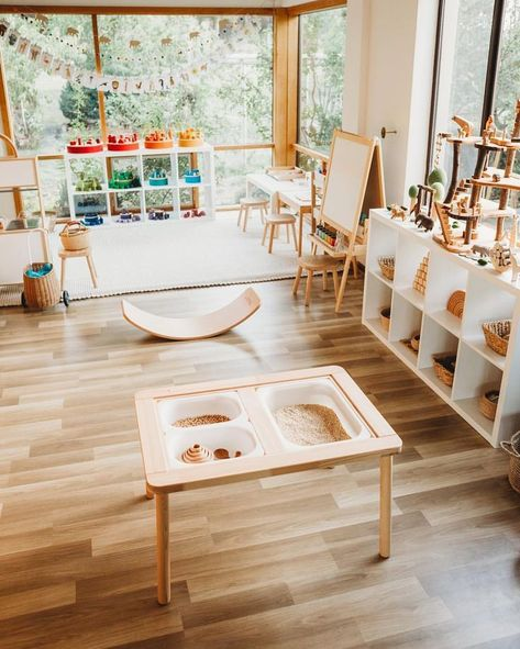 35 Favorite Playroom Design Ideas Must Have For Tiny Spaces - Having a kids playroom has many benefits. To begin with, you'll have a charming and pleasant environment where your little one may spend most of the t. Modern Playroom, Playroom Design, Playroom Decor, Playroom Ideas, Childminders Playroom, Office Decor, Children Playroom, Daycare Design, Toddler Playroom