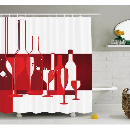 Wine Shower Curtain Artistic Modern Design Party Drink Beverage