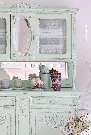 Shabby Chic Cupboard Buffet Cabinet In Mint Shabby Chic Schrank