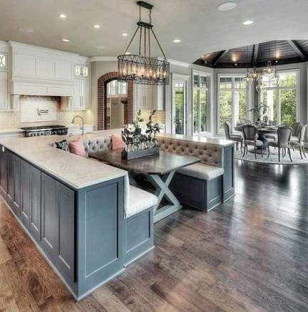39 Ideas Farmhouse Table Blue Breakfast Nooks Luxury Kitchen Island Kitchen Island With Seating Home Decor