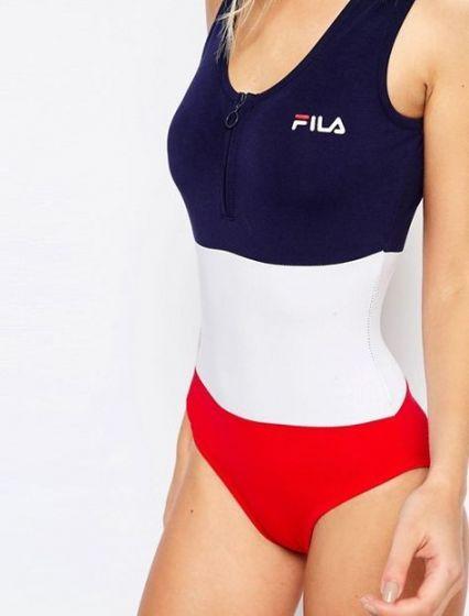 Fila Fia Logo Stripe Bodysuit ($60) ❤ liked on Polyvore
