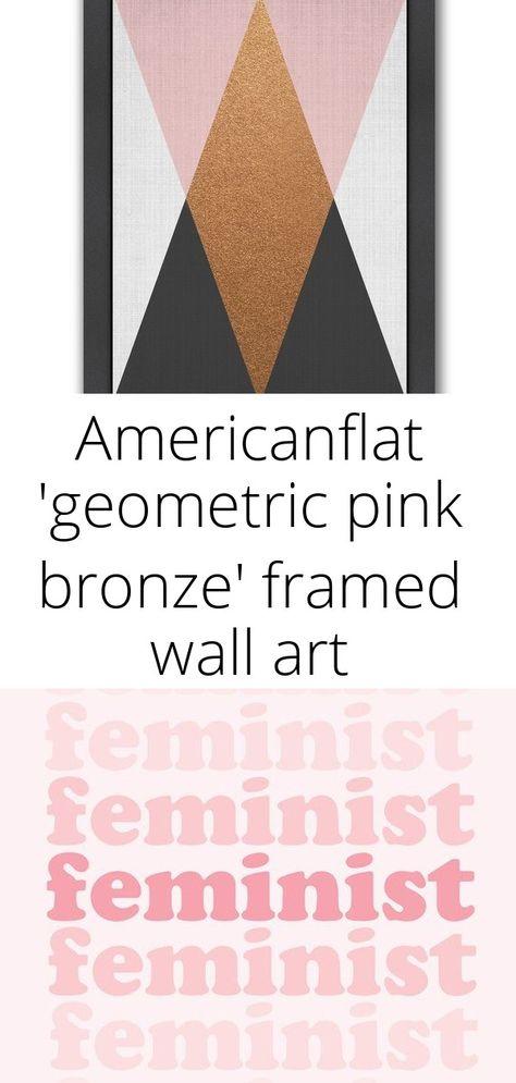 Americanflat 'geometric pink bronze' framed wall art