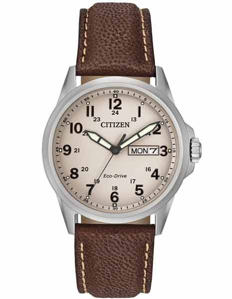Citizen Eco-Drive Mens Strap Watch - Day/Date - Beige Dial - Brown Leather