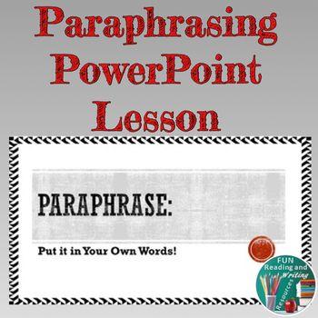 Paraphrasing Powerpoint Lesson Paraphrase V Summary Ppt