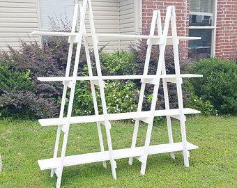 Wooden Ladder Craft Fair Display 5 Foot Ladder Shelf Decorative Ladder Trade Show Display Craft Show Display Portable Display In 2020 A Frame Bookshelf Christmas Village Display Ladder Decor