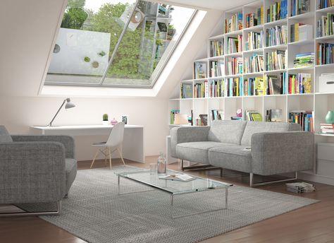 Das Regal unter der Dachschräge und die Sofagarnitur aus der - wohnzimmer mit dachschräge