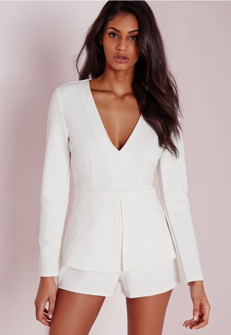 4302b4118b Plunge Peplum Playsuit White - Peplum - Playsuits - Missguided ...