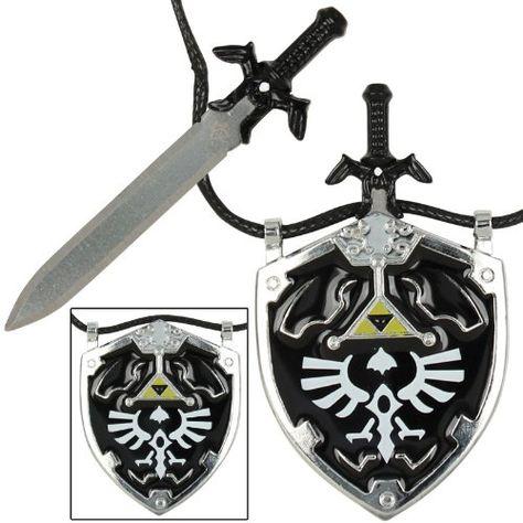 Legend of Zelda Hylian Shield with Sword Arrows Necklace Costume Cosplay Metal
