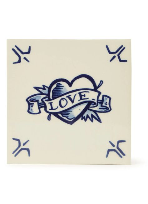 Royal Delft Schiffmacher Royal Blue Tattoo, Love wandtegel 13 x 13 cm • Blauw • de Bijenkorf