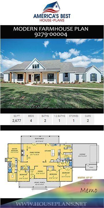 Oct 14 2019 A Stunning Single Story Modern Farmhouse Plan 9279 00004 Details 2 677 Sq Ft 4 In 2020 House Plans Farmhouse Farmhouse Floor Plans Floor Plans Ranch