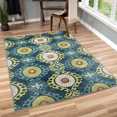 Orian Rugs Floating Floral Promise Indoor Outdoor Area Rug Blue Indoor Outdoor Area Rugs Outdoor Area Rugs Indoor Outdoor