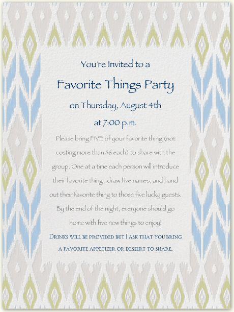 Favorite Things Party Invitationwording – Fondue Party Invitation Wording