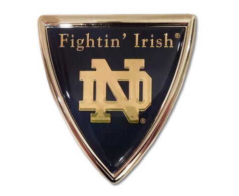 University of Notre Dame Shield Chrome with Color Car Emblem