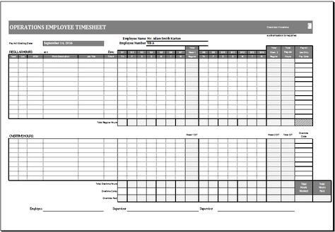 Operations employee time card template at http\/\/wwwxltemplates - payroll sheet template