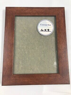 6x8 Brown Wood Picture Frame With Glass Hangs Horiz Or Vertical