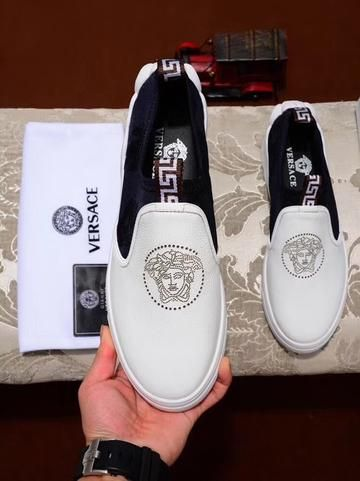 Versace Collection Mens White Leather Fashion Sneakers Shoes Sz US 9 IT 42