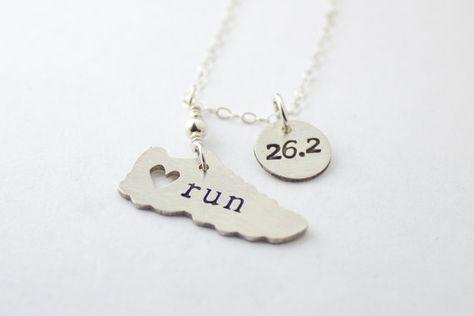 Adorable marathon necklace. Via @Etsy, $56.00