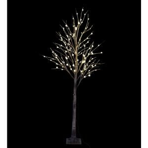 Lightshare 8 Ft Pre Lit Led Birch Tree With Natural Wild And 132 Warm White Led Lights Bbhs8ft The Home Depot Outdoor Artificial Christmas Trees White Led Lights Led Christmas Tree Lights