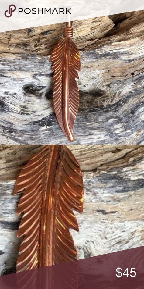 Navajo Indian Copper Feather Pendant Hand Made by Douglas Etsitty