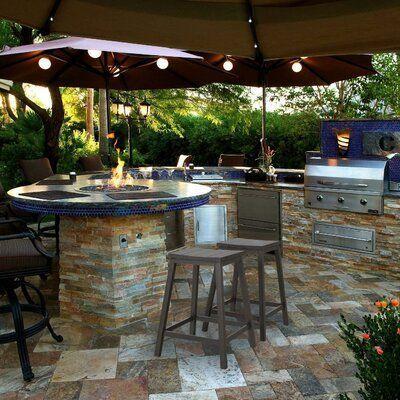Phi Villa Metao 25 19 Patio Bar Stool Wayfair Patio Bar Stools Outdoor Kitchen Design Backyard Pavilion