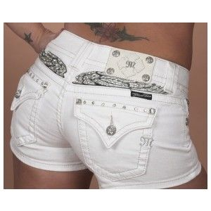 Buckle Miss Me White Denim Jean Shorts, Silver Bling Angel Wings, Size Sexy. Cute Jeans, Sexy Jeans, Cute Shorts, Miss Me Shorts, Miss Me Jeans, Short Jeans Feminina, Aeropostale, Vs Pink, Miss Mes